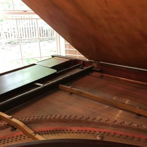 inside of a piano with the lid lifted
